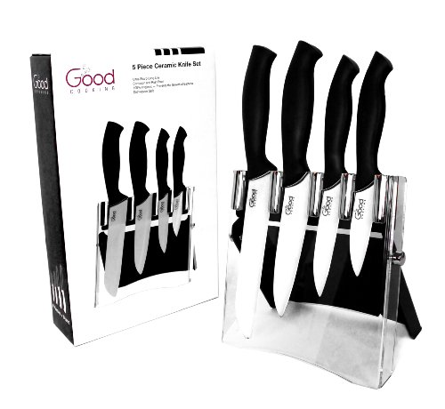 Ceramic Knife Set with Block- 5 Pc Cutlery Ceramic Knives Set By Good Cooking (Black Handles) by Good Cooking