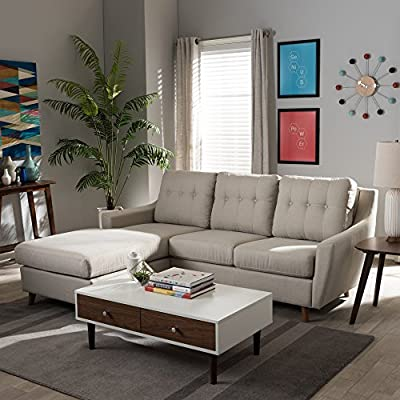 Baxton Studio Adele Mid-Century Light Beige Fabric Button-Tufted 2Piece SECTIONAL Sofa