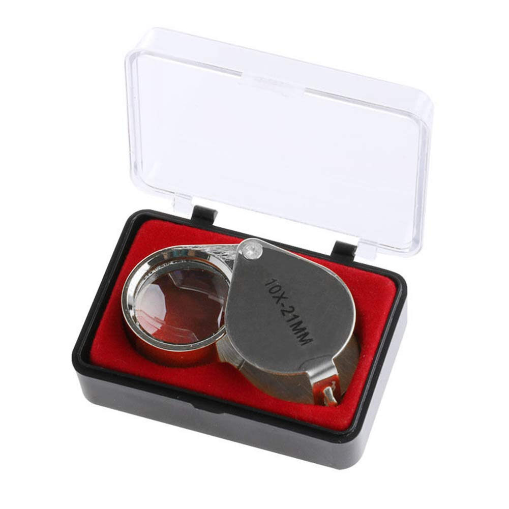 Case 20X 10X Foldable Jeweler Eye Loupe Metal Jewelry Stamp Coin Magnifier 20x-21mm liyhh