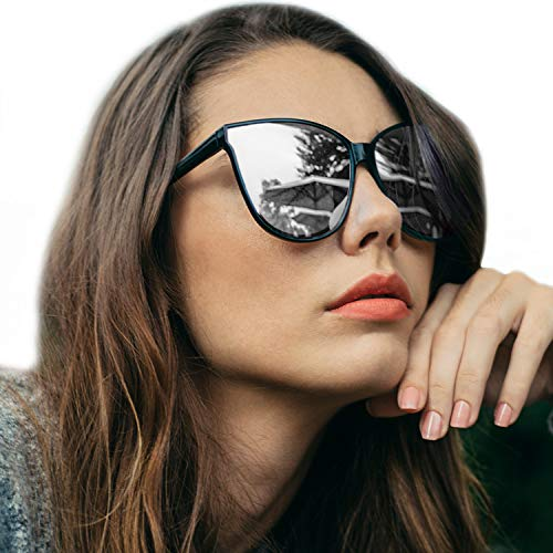 LVIOE Cat Eyes Sunglasses for Women, Polarized Oversized Fashion Vintage Eyewear for Driving Fishing - 100% UV Protection (Black Frame/Silver Mirrored Lens Cat Eyes Oversized, Silver Mirror) ()