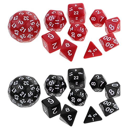 Homyl 20pcs Multi Sided Dice for D&D Party Roleplaying Board Game Toy Black&Red by Homyl