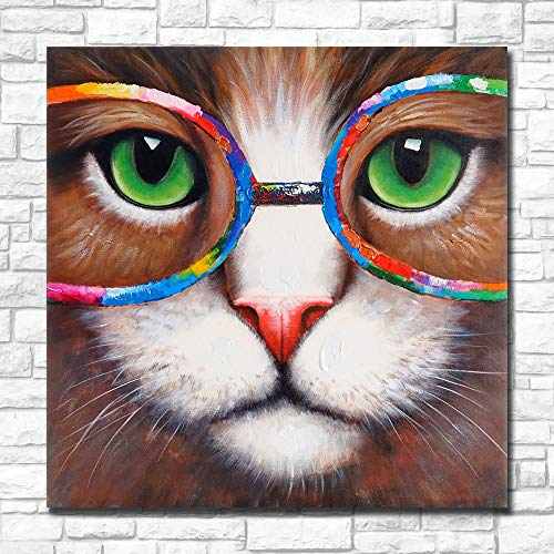 - Karen Max Wall Art Pictures for Living Room Home Decor Pop Art Cat-Eyes-Green-with-Glasses-of-Colors Painting Canvas Oil Painting Printed