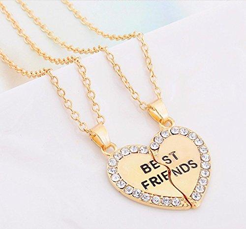ODETOJOY Best Friends Necklace for 2 BFF Broken Heart Necklace Gold Rhinestone Bestfriends Engraved Letters Pendant PFCCP04G