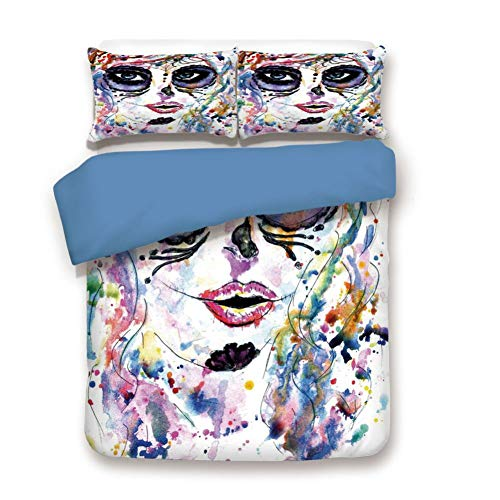 Duvet Cover Set Twin Size, Decorative 3 Piece Bedding Set with 2 Pillow Shams,Halloween Girl with Sugar Skull Makeup Watercolor Painting Style Creepy Decorative -