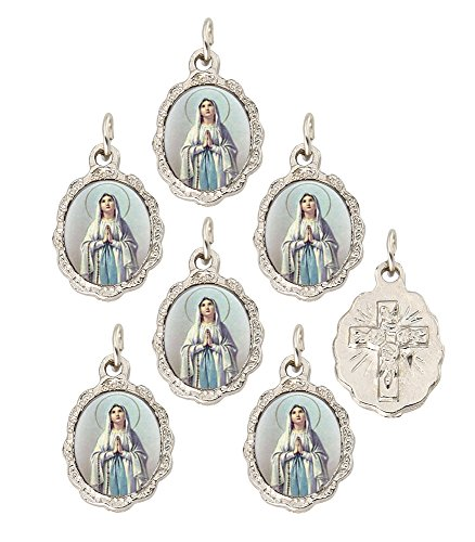 Our Lady Of Lourdes Medals - Catholica Shop Catholic Religious Wear Our Lady of Lourdes Silver Tone Small Medal Pendant - Lot of 6