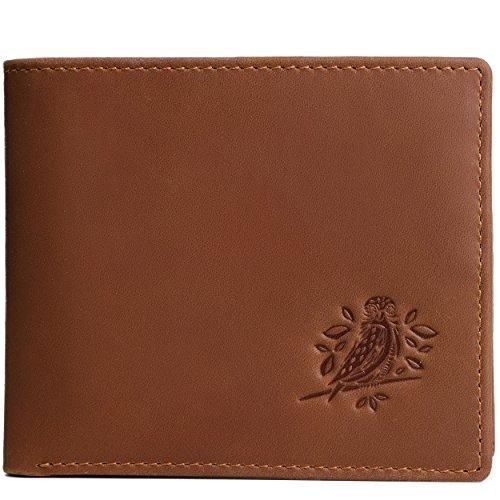 RFID Wallets for Men - Bifold Leather rustic design (dark brown)
