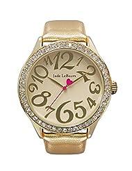 Womens Large Face Gold Tone Watch Leather Strap Crystal Bezel Easy Read Jade LeBaum - JB202760G