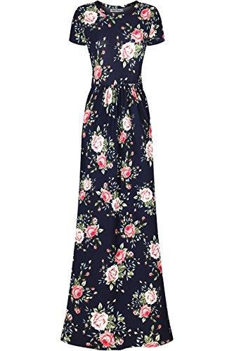 b7267825f5 Jual Bon Rosy Women's Short Sleeve Floral Maxi A Line Dress w/Side ...