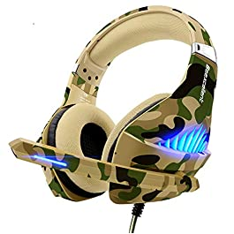 Gaming Headset for PS4 Xbox One PC, Beexcellent Deep Bass PS4 Headset with Noise Immunity Mic, LED Light, Friction-Reduction Cable, High Comfort Earmuff-Camo