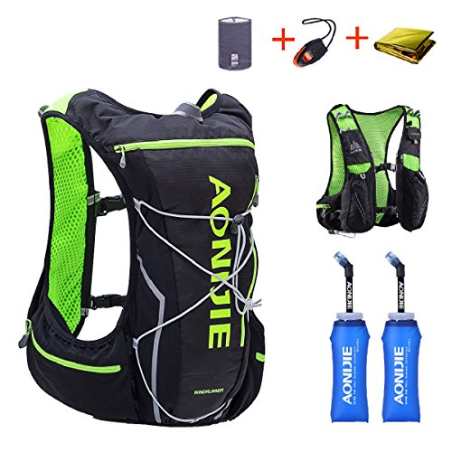 TRIWONDER Hydration Pack Backpack 10L Deluxe Running Race Hydration Vest Outdoors Mochilas for Marathon Running Cycling Hiking (Black&Green - with 2 Soft Water Bottles (350ml), L-XL)
