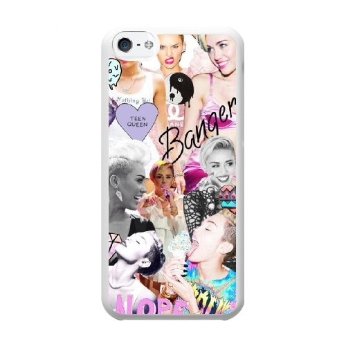 Miley Cyrus Phone Cover Case For iPhone 5C Cell Phone White - Cyrus Miley Proof