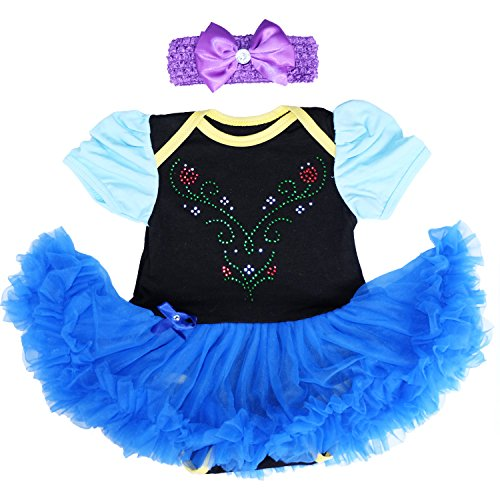 [Laudmu Baby Anna Princess Black Royal Blue Bodysuit Tutu,Romper Skirt Dress (XL(12-18month))] (Princess Costumes For Babies)