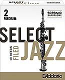 Rico Select Jazz Soprano Sax Reeds, Filed, Strength 2 Medium, 10-pack
