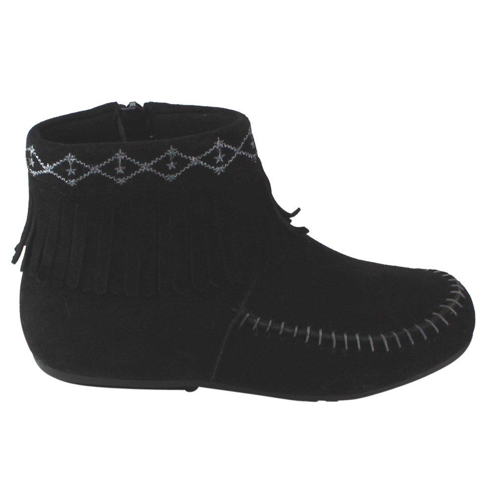 Betani Denise-5 Girls Kids Embroidered Fringe Mocassin Low Heel Ankle Booties
