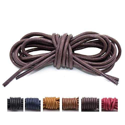 Handshop Waxed Boot Shoelaces, Cotton Round Shoe Laces for Dress Shoes, Deep Brown 27.6 inch (70 cm)