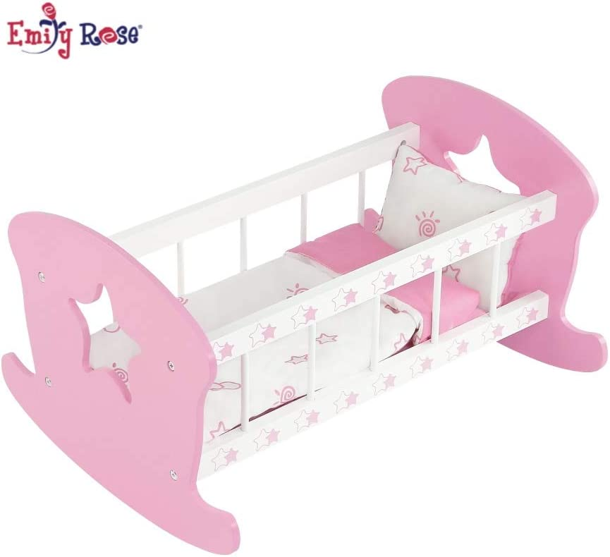 Doll Crib Playpen Bed with Pillow Blanket and Carry Bag Fits 18 Inch American Girl Doll Little Rose Doll Collection