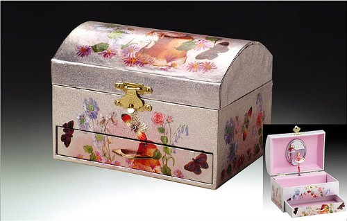 Bailarina de hadas plateada y rosa Swan Lake Music Jewelry Box