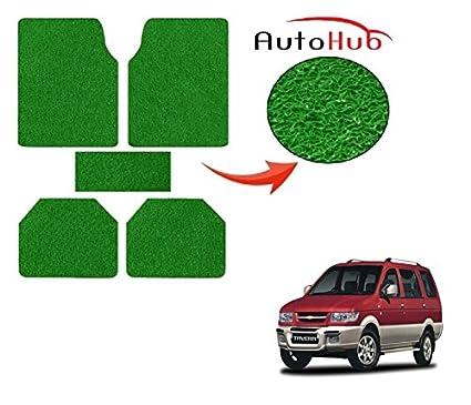 Auto Hub Anti Slip Car Grass Mats For Chevrolet Tavera Green