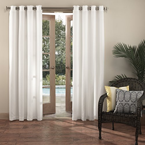 Sun Zero Beacon Indoor Outdoor UPF 50+ Curtain Panel, 52″ x 84″, White