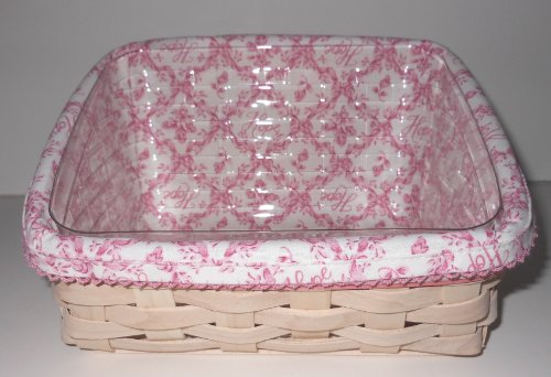 - New Longaberger 2009 Horizon of Hope Note Basket Set - Includes Basket, Liner, Protector and Tie On! - Whitewashed!