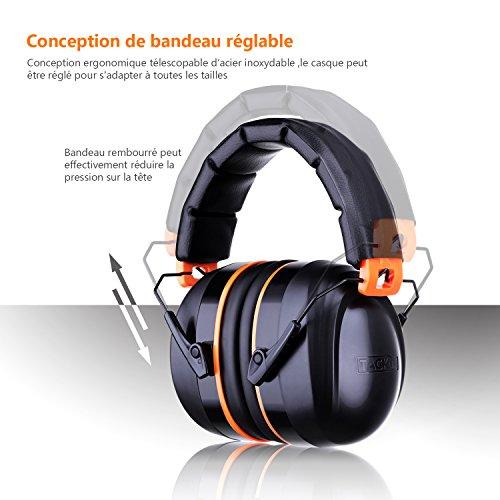 Tacklife Casque Anti-bruit Pliable Enfant Adulte, SNR 34dB/Protection Auditive/Certification CE/Confortable/Idéal pour… 3