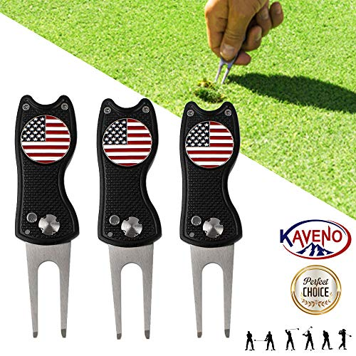 Retriever Golf Club Headcover - KAVENO Foldable Magnetic Golf Divot Tool Stainless Steel Switchblade with USA Golf Ball Marker (Mixed - 3PCS)