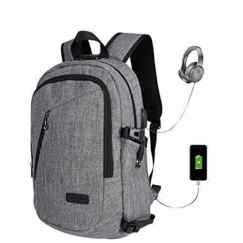 Tessuto Oxford Ydj 35L studenti password zaino, 39,6cm Business antifurto borsa per computer, outdoor viaggio con USB di ricarica con 1* cavo di ricarica USB, 1* cuffie prolunga
