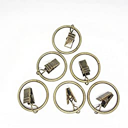 Jekewin stainless Curtain Clip with Ring and Hook for Curtains - Great Curtain Rings for Your 1 Curtain Rod ,Pack of 32 Pcs ( Antique Bronze)