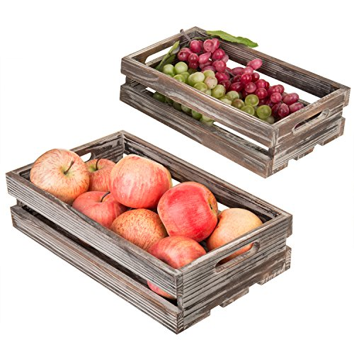MyGift Set of 3 Nesting Torched Wood Storage Crates by MyGift (Image #2)