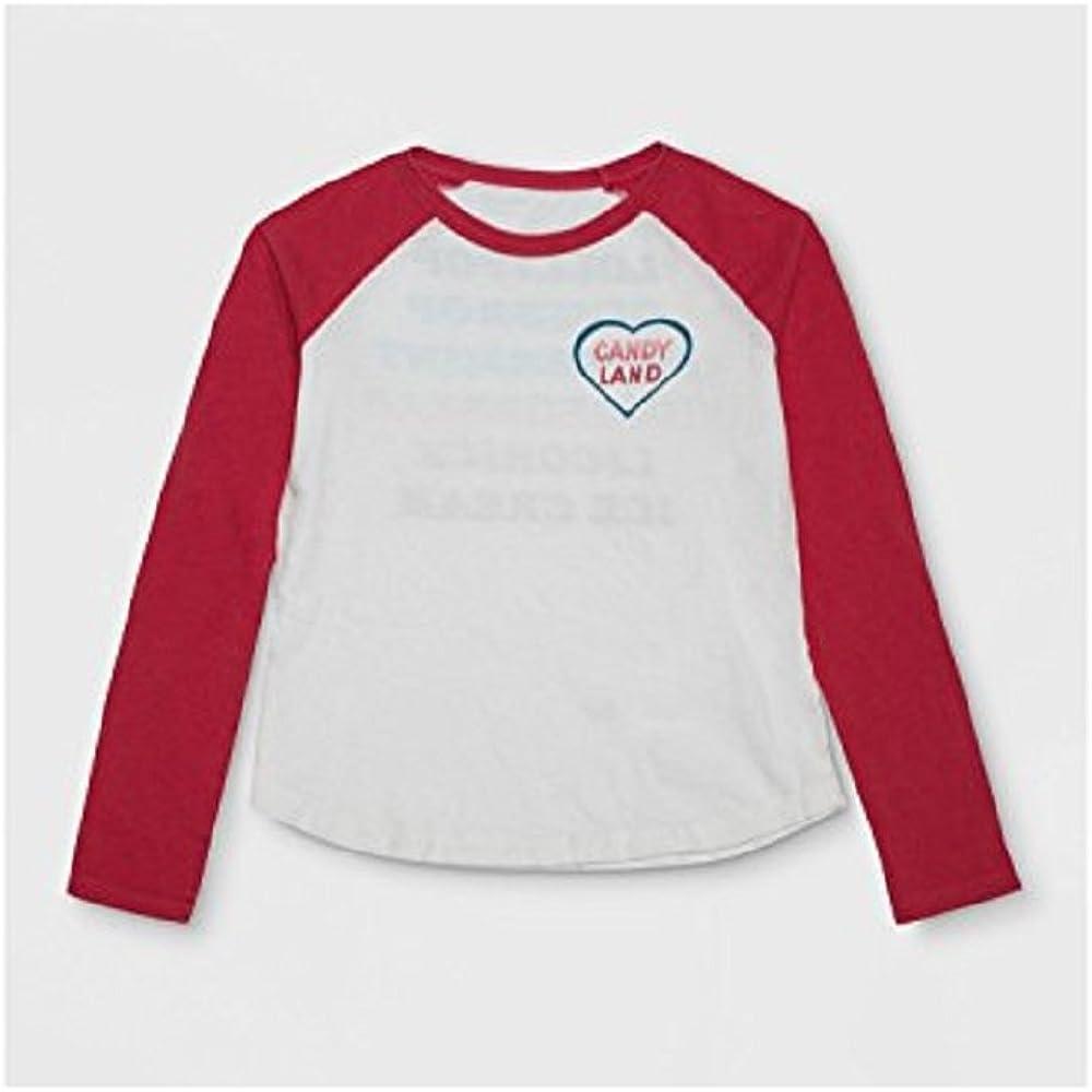 Junk Food Girls' Long Sleeve Candy Land Raglan Graphic T-Shirt XS (4-5) White