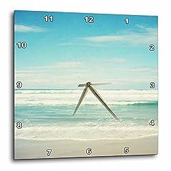 3dRose dpp_164479_2 Gentle Ocean Waves Beach Theme Art-Wall Clock, 13 by 13-Inch
