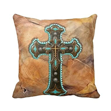 Turquoise And Brown Cross On Leather Print Throw Pillow Case Personalized 18x18 Inch Square Cotton Throw Pillow Case Decor Cushion Covers