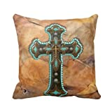 Turquoise And Brown Cross On Leather Print Throw Pillow Case Personalized 18x18 Inch Square Cotton Throw Pillow Case Decor Cushion Covers (picture#6)