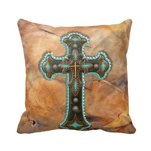 turquoise-and-brown-cross-on-leather-print-throw-pillow-case-personalized-18x18-inch-square-cotton-t