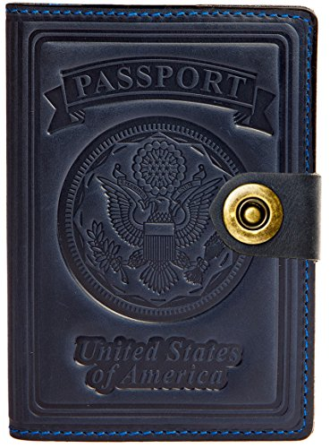 Villini   Leather Rfid Blocking Us Passport Holder Cover Id Card Wallet   Travel Case  Navy Blue