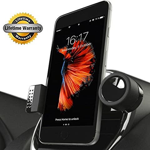 Luxury Car Cell Phone Mount Holder For Air Vents, 360° Rotation Fits All Smartphones Including iPhone X, 8, 7 | 7/8 Plus, 6, 6S | 6 Plus, 6S Plus, iPhone 5, 5S | Galaxy S5, S6, S7, S7 Edge, S8, Note (Cellular Car Alarm)
