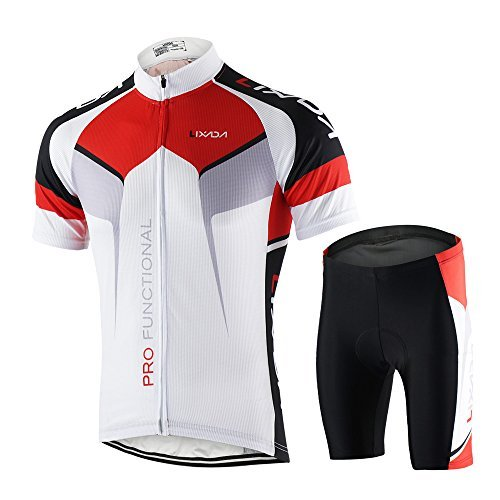 White Short Sleeve Cycling Jersey (Lixada Men's Cycling Jersey Set Bicycle Short Sleeve Set Quick-Dry Breathable Shirt+3D Cushion Shorts Padded Pants)