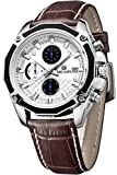 Megir Mens Pilot Fashion Casual Brown Leather Date Chronograph Quartz Watches