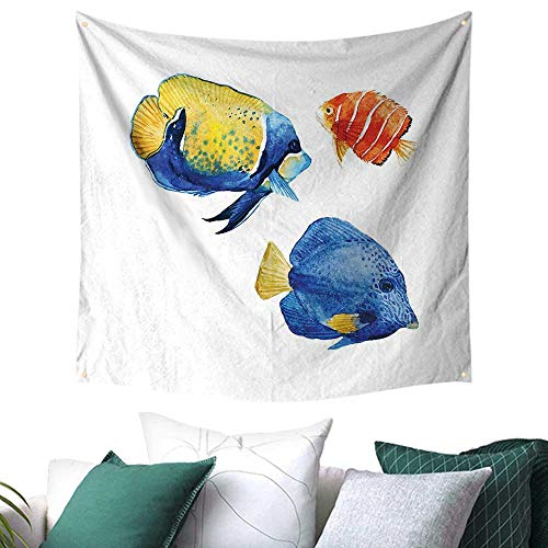 homehot Fish Tapestry for Dorm Tropical Aquarium Life Discus Fish and Goldfish in Different Patterns Festival Flags 32W x 32L Inch Azure Blue Yellow Scarlet