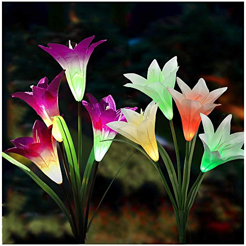 Garden Solar Flower Lights Outdoor – 2 Pack Solar Powered Decorative Stake Lights with 8 Lily Flowers, Multi-Color…