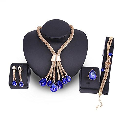 Women Gold Plated Jewelry Set Royal Blue Crystal Teardrop Nekclace Earrings Set … (Necklace Blue Set Royal)