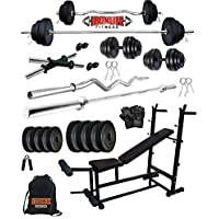 IRONLIFE FITNESS Leather 20 Kg Weight Plates, 5 and 3 ft Rod, 2 D.Rods Home Gym Equipment Dumbbell Set with 8 in 1 Bench Press