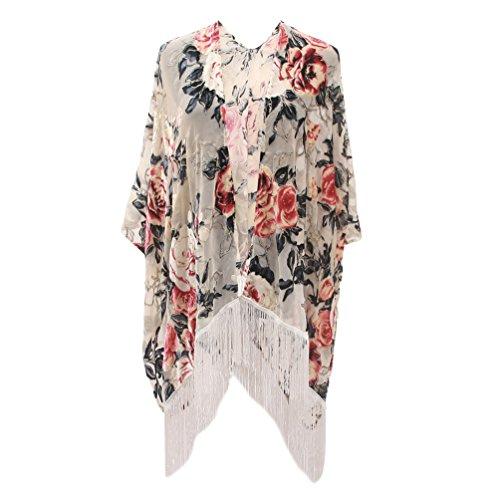 Floral Burnout Velvet Dress Kimono Cardigan Poncho With Fringe Velvet Shawls Wraps (one size, 25)