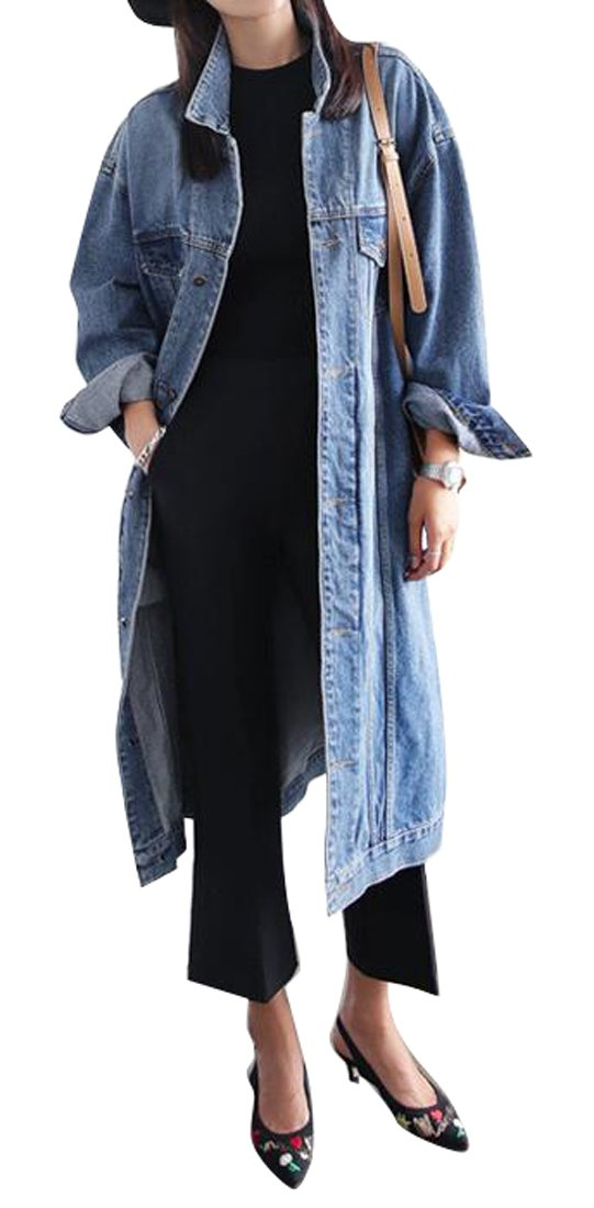 LD Womens Plus Size Button Down Mid Length Denim Jacket Trench Coat Outerwear