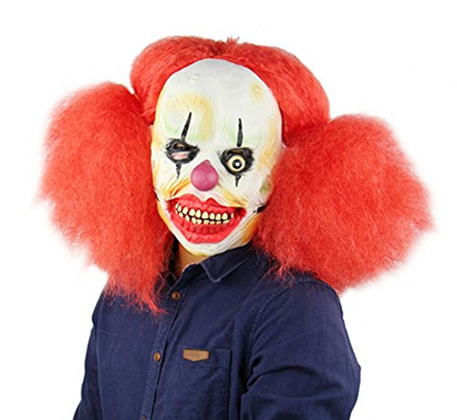 Creepy Laughing Devil Clown Halloween Masks Costume Cosplay Mask with Long Red Hair Adult Women (Creepy Female Clown Costumes)