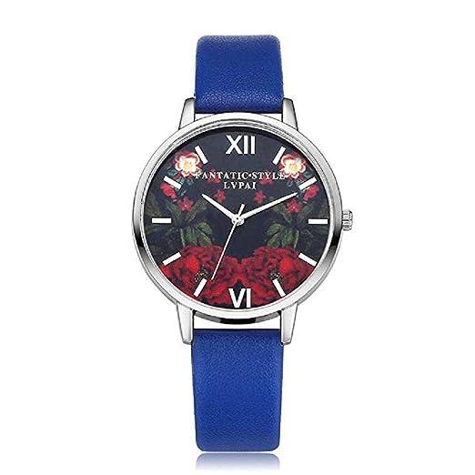 Scpink Mujeres Relojes de Cuarzo, patrón de Flores de liquidación Relojes de señoras analógicas Relojes