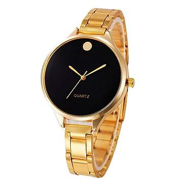 Zxzays Dial Reloj Relojes Mujer Mujer Cristal Simple de Acero Inoxidable Banda Reloj de Pulsera de