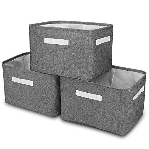 c6825d3720c 3-Pack Collapsible Storage Bin Basket Foldable Canvas Fabric Tweed Storage  Cube Bin Set With