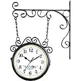 9235f9fe905 Relógio de Parede com Suporte Preto para Decoração - Retrô Vintage Flores  Estilo Estação Ferroviária