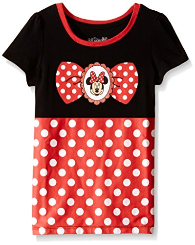 Minnie Mouse Costumes Shirt (Disney Little Girls' Toddler Minnie Mouse Short Sleeve Costume T-Shirt, Black, 4T)